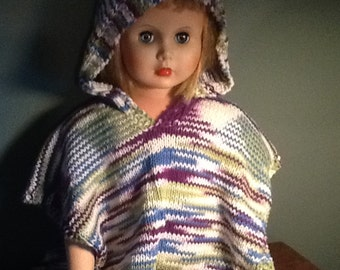 Hand Knit Cotton Toddler Beach Cover Up / Poncho