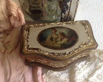 "Vintage large 11.5"" florentine boudoir jewelry music box with four bun feet"