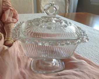 Lovely vintage shabby cottage thick glass decorated candy pedestal dish and lid