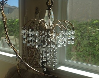 Small vintage waterfall droplets crystal chandelier