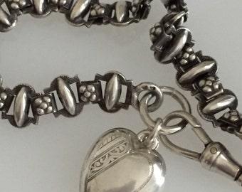 Antique Victorian Albertina Watch Chain Bracelet w/ Silver Heart Puffy Charm    @CELESTEANDCOGEMS