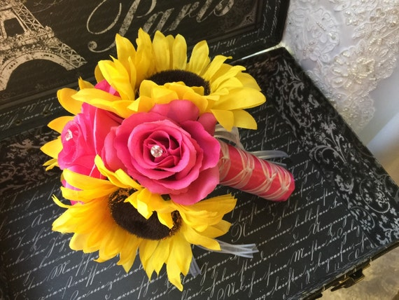 Sunflower And Pink Rose Bouquet Sale Sunflower ...