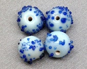 12 Vintage Blue Sugar Glass Beads 9mm