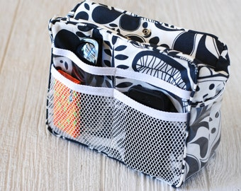 Cooler Purse Organizer, Black/White print