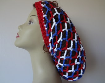 COTTON Mesh Hat - Red White and Blue - Mesh Slouchy Hat - Snood Mesh Hat - Slouchy Snood - Made In All Sizes - Handmade