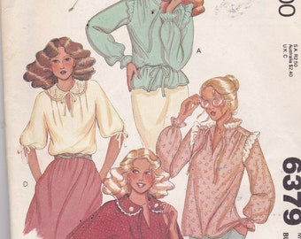 McCalls 6379 Vintage Pattern Womens Pull Over  Blouse in 4 Variations Size 8 UNCUT