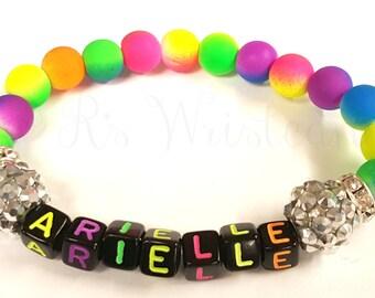 Girls Beaded Bracelet, Neon Bracelet, Stretch Bracelet, Handmade Bracelet, Beaded Jewelry, Little Girls Bracelet, Childrens name Bracelet
