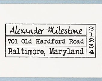Custom Self Inking Return Address Rubber Stamp - Handle Mounted Stamp Old Vintage Style - T23