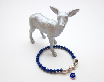4mm Lapis Lazuli Children's Bracelet with Evil Eye Charm