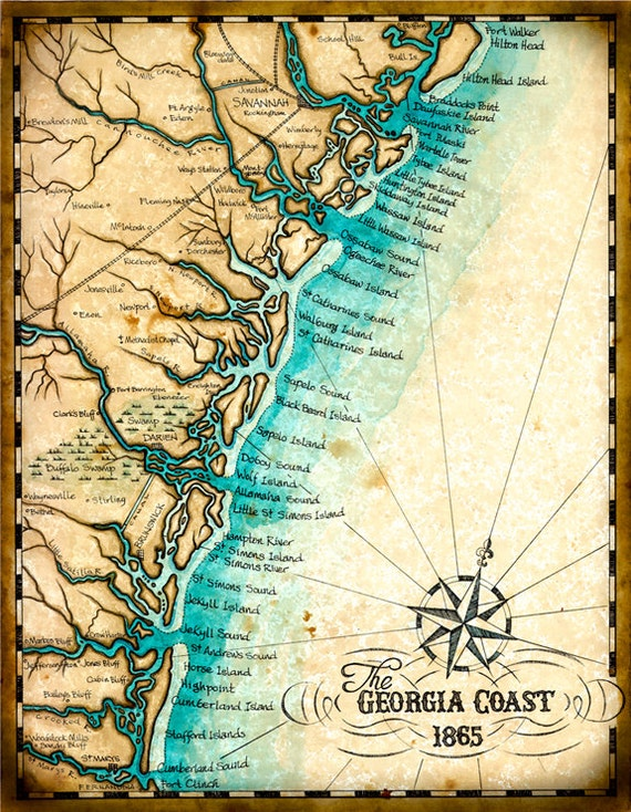 Georgia Coast Map Art C X Hand - Map of georgia coast