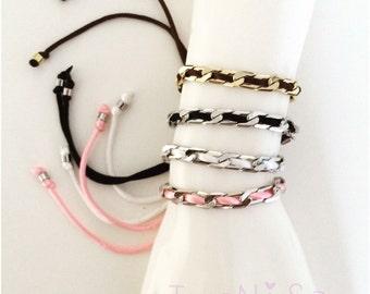 chain bracelet, adjustable bracelet, women bracelet, silver bracelet, gold bracelet, black bracelet, handmade bracelet