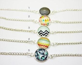 Geometrical modern cabochon bracelet