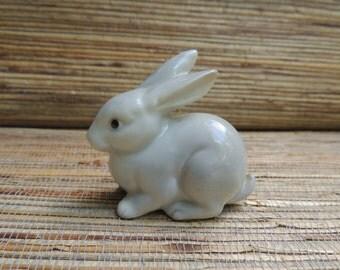 Porcelain Rabbit Figure, Japanese OMC 1960s Foil Sticker