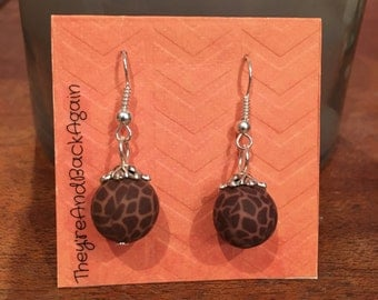 Giraffe Print Clay Bead Earrings