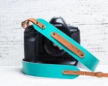 Personalized camera strap leather. Camera strap dslr. Camera strap Canon. Camera strap monogram. DSLR strap. Turquoise. Monogram