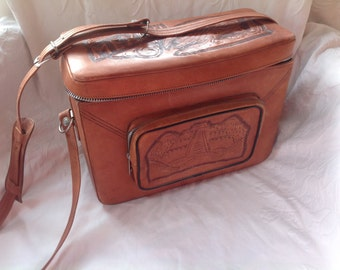 Vintage Leather Tooled Bag Travel Bag Camera Case Tooled Leather Mexico