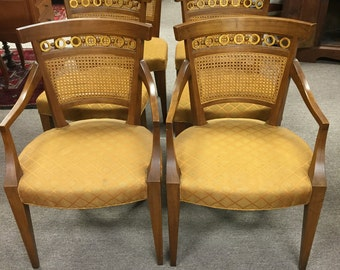 Gorgeous Set of 6 Mid Century Italian Dining Chairs (2 Armchairs) ca 1950