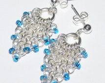 """Earring Beading Kit + Tutorial OR buy it finished!   """"Dragonscale"""" Chainmaille   Japanese Seed beads, Silver jump Rings   """"Cool Cascade"""""""