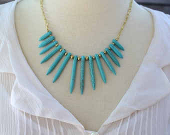 Turquoise or Cream Howlite Spike Necklace