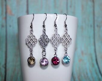 Elegant Bridal Earrings - Semi Precious Stone Earrings - Chandelier Stone Earrings - Jewel Earrings - Drop Stone Earrings - Silver Earrings