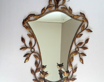 Vintage Hollywood Regency Italian Gilt Tole Mirror with Candle Sconce