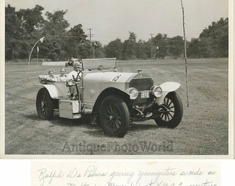 Ralph DePalma racer with children in car vintage photo