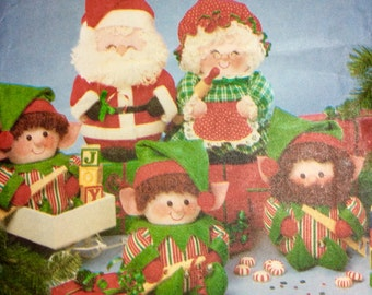 Butterick 5599, Santa, Mrs. Claus and Elves Pattern, Christmas Pattern, Holiday Pattern, Uncut, Vintage