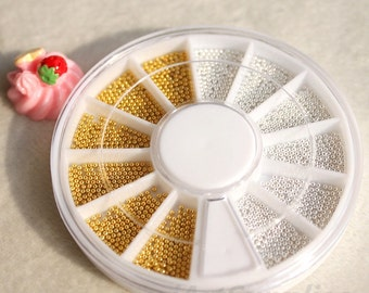 3D golden silver Color metal Caviar Manicure Pedicure Micro Tiny Nail Art Sticker Beads