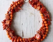 Bright harvest. 3 strand orange magnesite, turquoise, and stick coral one of a kind handmade necklace by ladeDAH! Jewelry.