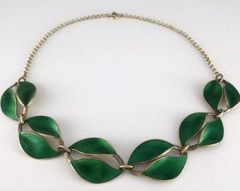 Vintage David Andersen Norway Sterling Silver Green Enamel Double Leaf Necklace