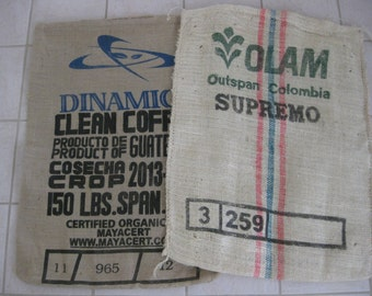 Pair of Coffee Bean Burlap Bags - Olam and Dinamica - Perfect for Sewing Projects