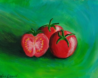 Tomatoes - Original Acrylic Painting on Acrylic Paper - A4 - Still Life