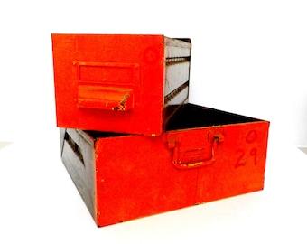 Pair of Industrial Metal File Drawers, Card File Drawers, Orange Red Fronts, Industrial Decor, Industrial Storage, Heavy Metal Drawers