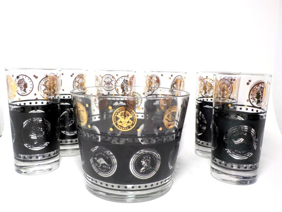 Set of 6 Highballs with Ice Bucket, Black Gold Coins Bar Set, Black Gold Highballs, Black Gold Ice Bucket, Retro Mad Men Barware