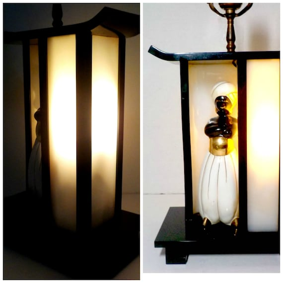 Asian Lamp, Mid CenturyTable Lamp, Siam, Thai, Black White, Harp and Original Finial, Separate Interior Accent or Nightlight, The King and I