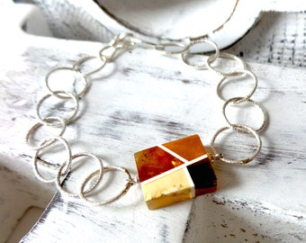 Baltic Amber , Sterling Silver Bracelet . Baltic Amber Jewelry. Modern Jewelry.