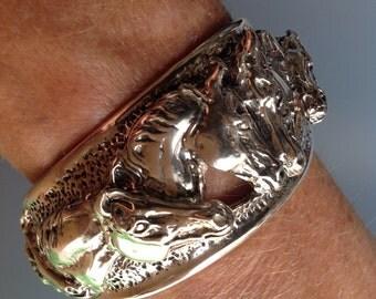 Special order Stunning cuff bracelet equestrian  Zimmer original design  STERLING SILVER impressive jewelry piece