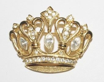 KJL Crown Pin with Crystals - S1383