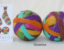 DYNAMICS – hand-dyed self-striping sock yarn, fingering weight