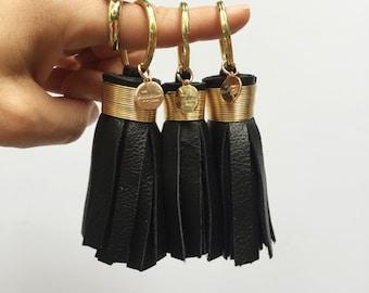 Mini Black Leather Tassel Keychain