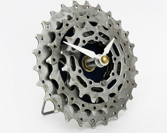 Bike Clock - Recycled Bicycle Cog Desk Clock - Gifts for Cyclists - Bike Gifts