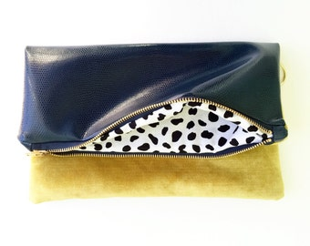 Navy and Vintage Gold Fold Over Clutch