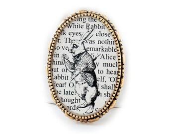White Rabbit Brooch - Alice in Wonderland Brooch - Alice in Wonderland Pin - Book Lover Gift - Book Jewelry - Literary Jewelry