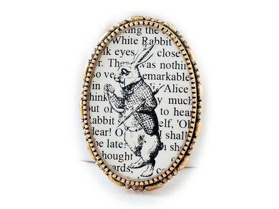 White Rabbit Brooch - Alice in Wonderland - Alice in Wonderland Jewelry - Literary Jewelry - Alice in Wonderland Brooch Pin - Literary Gifts