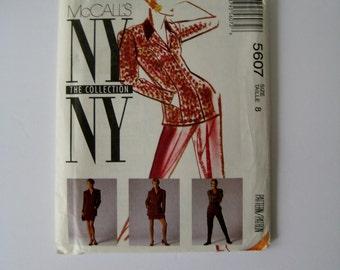 Vintage McCalls 5607 Sewing Pattern Jacket Pattern Skirt Pattern Stirrup Pants Suit Pattern NY NY Collection 1990's Fashion Size 8 UNCUT