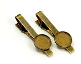 2 Pcs. Antique Brass Tie Clips 16 mm Blanks Bezel Settings High Quality