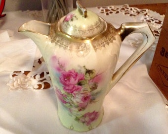 Vintage coffee or tea pot greens and rose tones