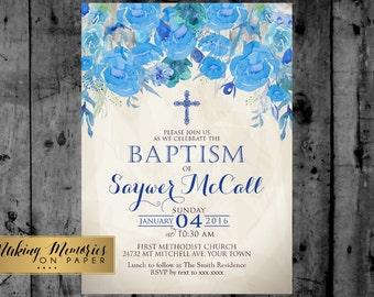 Boy Floral Baptism Invitation. Flower Baptism Invitation, Great for any Baptism, Christening, Dedication ,First Communion. Boy Floral