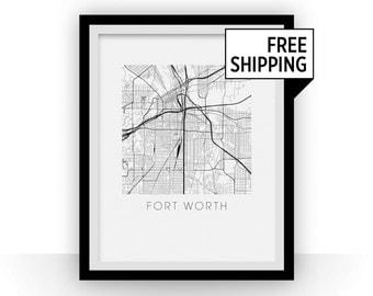 Fort Worth Map Print