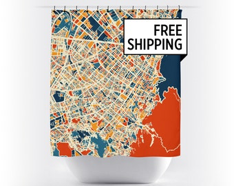 Bogota Map Shower Curtain - colombia Shower Curtain - Chroma Series
